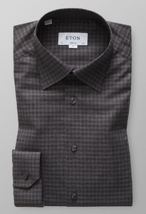 Eton Button Under Flannel Fine Twill Licht Grijs Melange