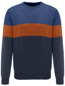Fynch-Hatton O-Neck Block Stripe Navy-Burnt Sienna-Marine