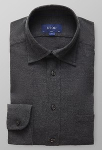 Eton Flannel Button Under Collar Midden Grijs