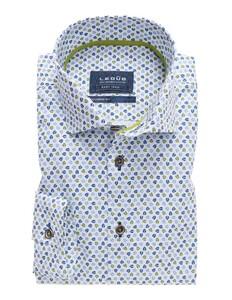 Ledûb Tailored Sleeve 7 Leaf Contrast Licht Blauw