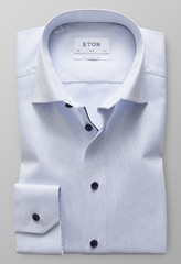Eton Slim Mouwlengte 7 Royal Oxford Licht Blauw