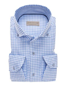 John Miller Checked Schiller Button Down Licht Blauw
