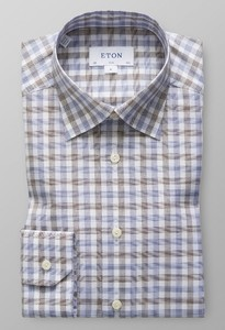 Eton Gingham Checked Signature Twill Deep Blue Melange