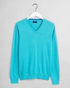 Gant Classic Cotton V-Neck Light Aqua