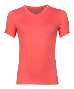 RJ Bodywear Pure Color V-hals T-Shirt Coral