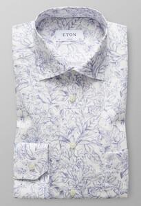 Eton Fine Floral Contrast Donker Blauw