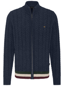 Fynch-Hatton Cardigan Zip Cable Structure Navy
