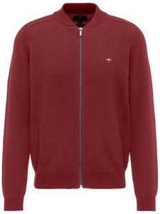 Fynch-Hatton Zipper Cardigan College Collar Scarlet