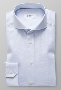 Eton Super Slim Micro Weave Melange Licht Blauw