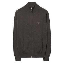 Gant Leight Weight Cotton Zipcardigan Anthracite Melange