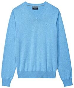 Gant Cotton V-Neck Light Blue Melange