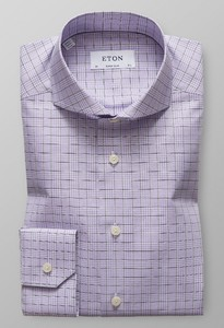 Eton Super Slim Overcheck Twill Paars