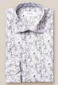 Eton Jaz Line-Drawing Signature Twill Wit