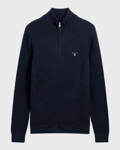 Gant Cotton Textured Halfzip Avond Blauw