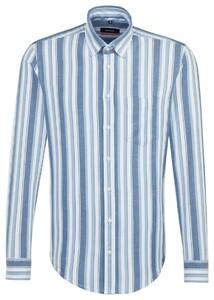 Seidensticker Cotton Linen Stripe Pastel Blauw
