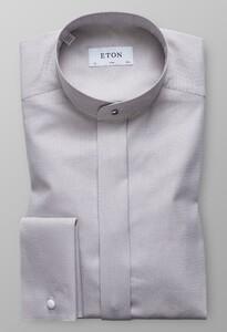 Eton Slim French Cuff Band Collar Grijs