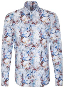 Jacques Britt Floral Hidden Button Down Sky Blue Melange