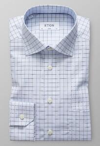 Eton Classic Overcheck Twill Avond Blauw