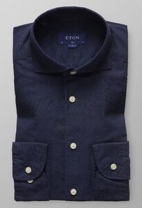 Eton Slim Cotton Silk Donker Blauw Melange