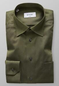 Eton Hidden Button Down Donker Groen