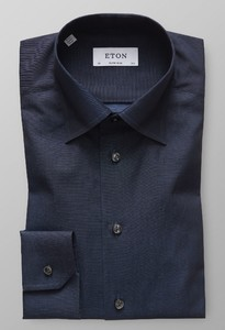 Eton Uni Button Under Signature Twill Night Sky
