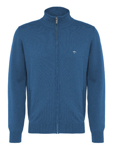 Fynch-Hatton Cardigan Zipper Superfine Cotton Azure