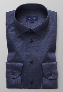 Eton Jersey Button Under Donker Blauw Melange