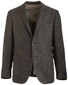 EDUARD DRESSLER Shaped Fit Linen Mix Shirt Jacket Donker Groen