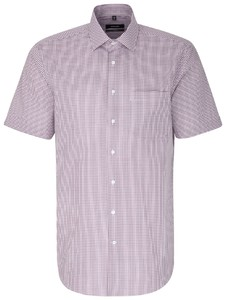 Seidensticker Poplin Short Sleeve Check Red Wine