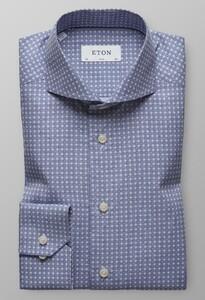 Eton Poplin Geometric Avond Blauw