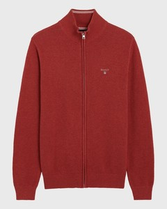 Gant Cotton Pique Zipper Cardigan Dark Red Melange