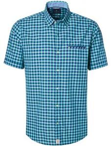 Pierre Cardin Check Short Sleeve Button Under Blauwgroen