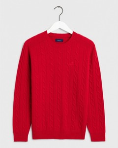 Gant Lambswool Cable Crew Rood