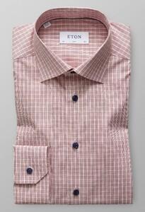 Eton Slim Poplin Weave Check Roodroze