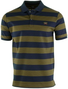 Paul & Shark Organic Cotton Double Mercerized Barstripe Polo Navy-Groen