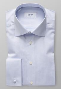 Eton Cotton Tencel French Cuff Blauw