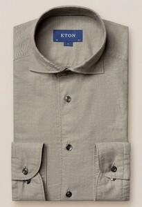 Eton Slim Cotton Silk Donker Groen Melange