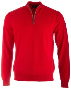 Paul & Shark Merino Extrafine Alcantara Contrasted Zipper Rood