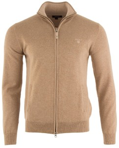 Gant Cotton Tonal Elbow Zipjacket Khaki