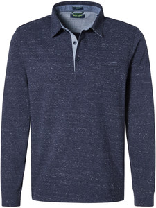 Pierre Cardin Longsleeve Polo Jersey Jacquard Blauw