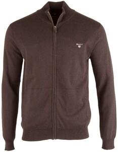 Gant Cotton-Wool Vest Dark Brown Melange