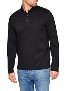 Maerz Uni Cotton Longsleeve Poloshirt Zwart