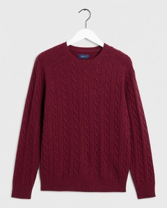 Gant Lambswool Cable Crew Port Red