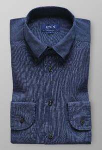 Eton Indigo Dyed Button Down Donker Blauw Melange