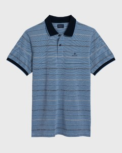 Gant 4 Color Oxford Stripe Polo Shirt Midden Blauw