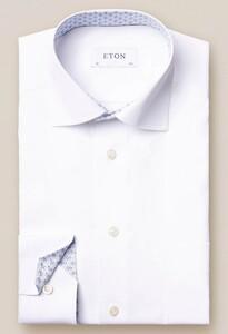 Eton Uni Poplin Fine Contrast Wit