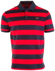 Paul & Shark Organic Cotton Double Mercerized Barstripe Polo Navy-Rood