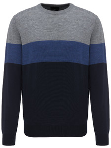 Fynch-Hatton O-Neck Block Stripe Navy-Marine-Silver