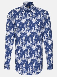 Jacques Britt Poplin Leaf Fantasy Navy Blue