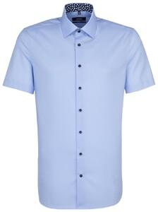 Seidensticker Poplin Uni Short Sleeve Contrast Blauw